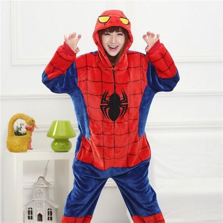 kigurumi red blue Spider Man onesies animal pajamas for adults