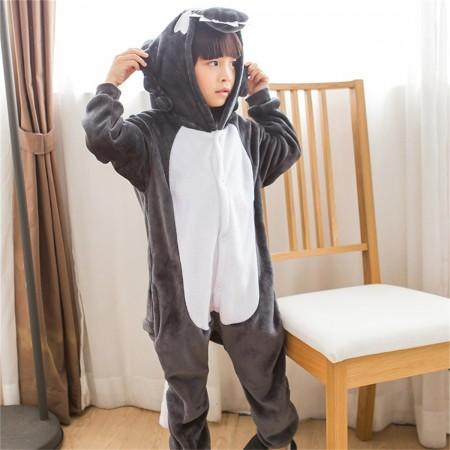 animal kigurumi grey Wolf onesie pajamas for kids