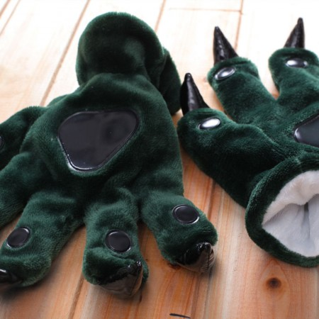 Dark green Kigurumi Unisex Onesies Animal Hands Paw Flannel Cartoon Gloves