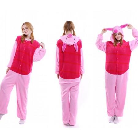 kigurumi pink red Piglet onesies animal pajamas for adults