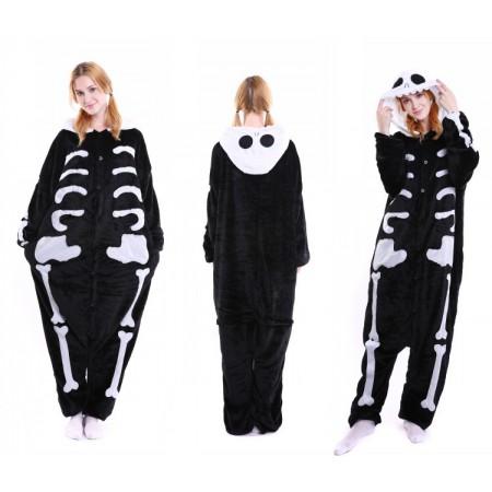 kigurumi black white Skull onesies animal pajamas for adults