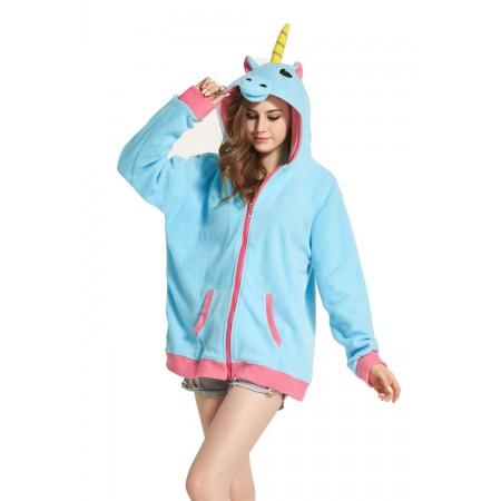 Blue Unicorn Animal Kigurumi Fleece Hoodie Coat Jacket