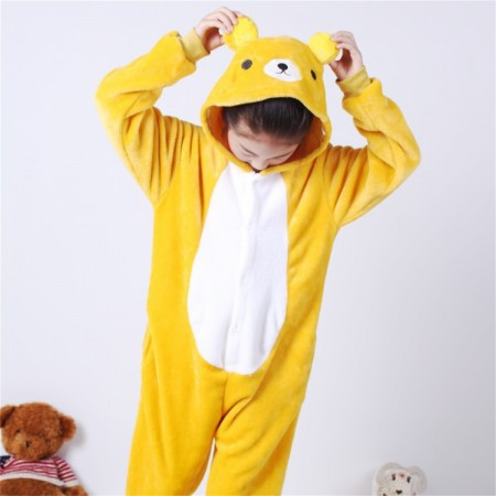animal kigurumi yellow Bear onesie pajamas for kids