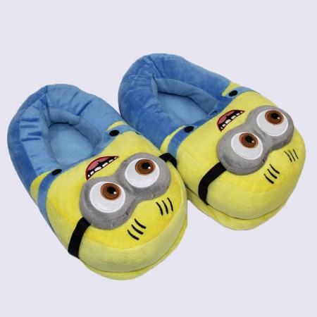 Yellow Blue Two eyes Despicable Me Minion Plush Stuffed Slippers Shoes
