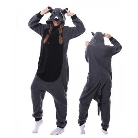 Gray Raccoon Panda Onesie Pajama Animal Costumes For Women & Men