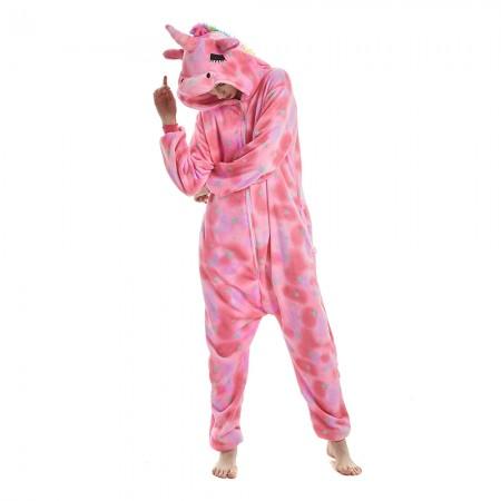 Pink Star Pattern Unicorn Onesie Pajamas With Rainbow Tail and Mane