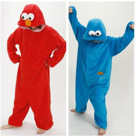 Blue or Red Sesame Street COOKIE MONSTER Pajamas Animal Onesies Costume Kigurumi