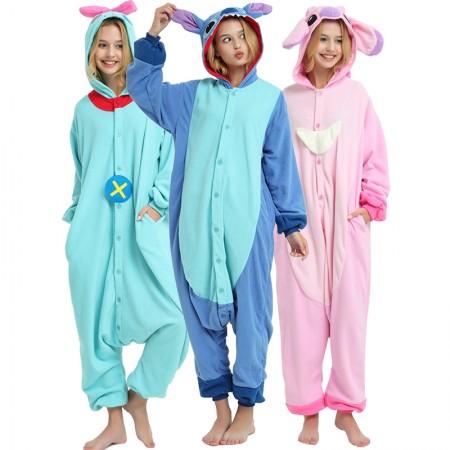 Stitch And Angel Kigurumi Onesie Pajamas Animal Costumes For Adult & Teens