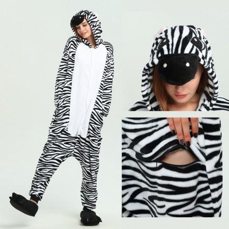 kigurumi black white Zebra onesies animal pajamas for adults