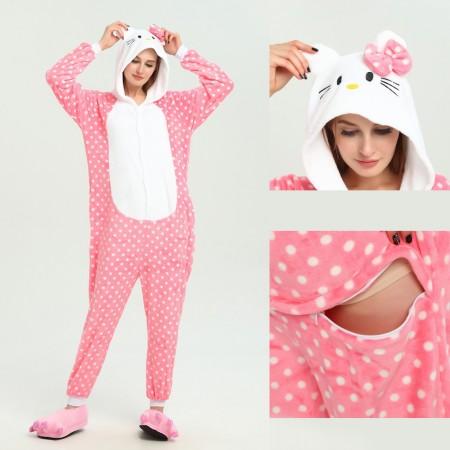 kigurumi pink Hello Kitty Cat onesies animal pajamas for adults