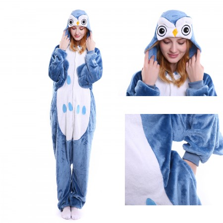 kigurumi blue Owl onesies animal pajamas for adults