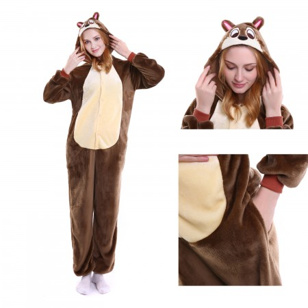 kigurumi brown Chipmunk onesies animal pajamas for adults