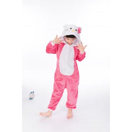 animal kigurumi pink Hello Kitty Cat onesie pajamas for kids