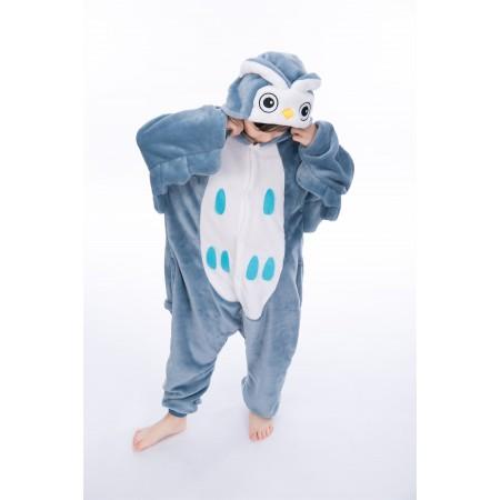 animal kigurumi blue Owl onesie pajamas for kids
